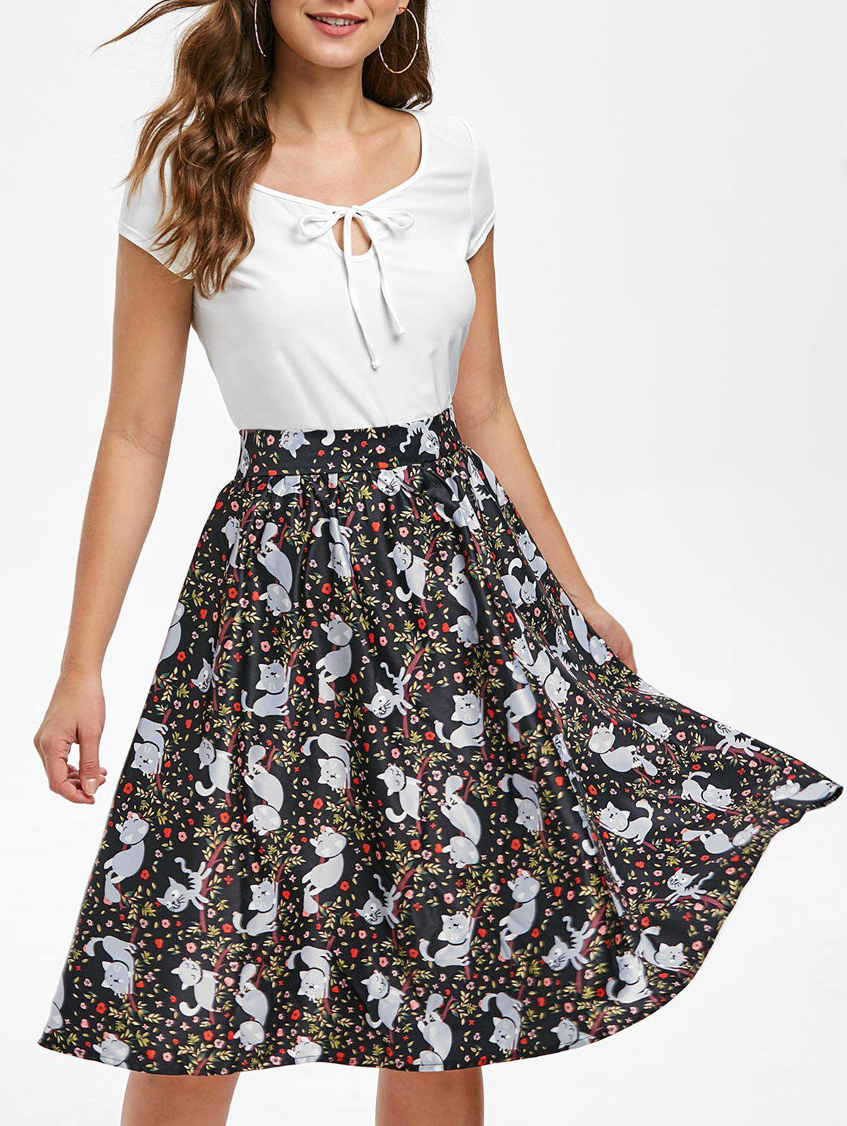 Affordable Keyhole T-shirt and Cat Print Skirt Set