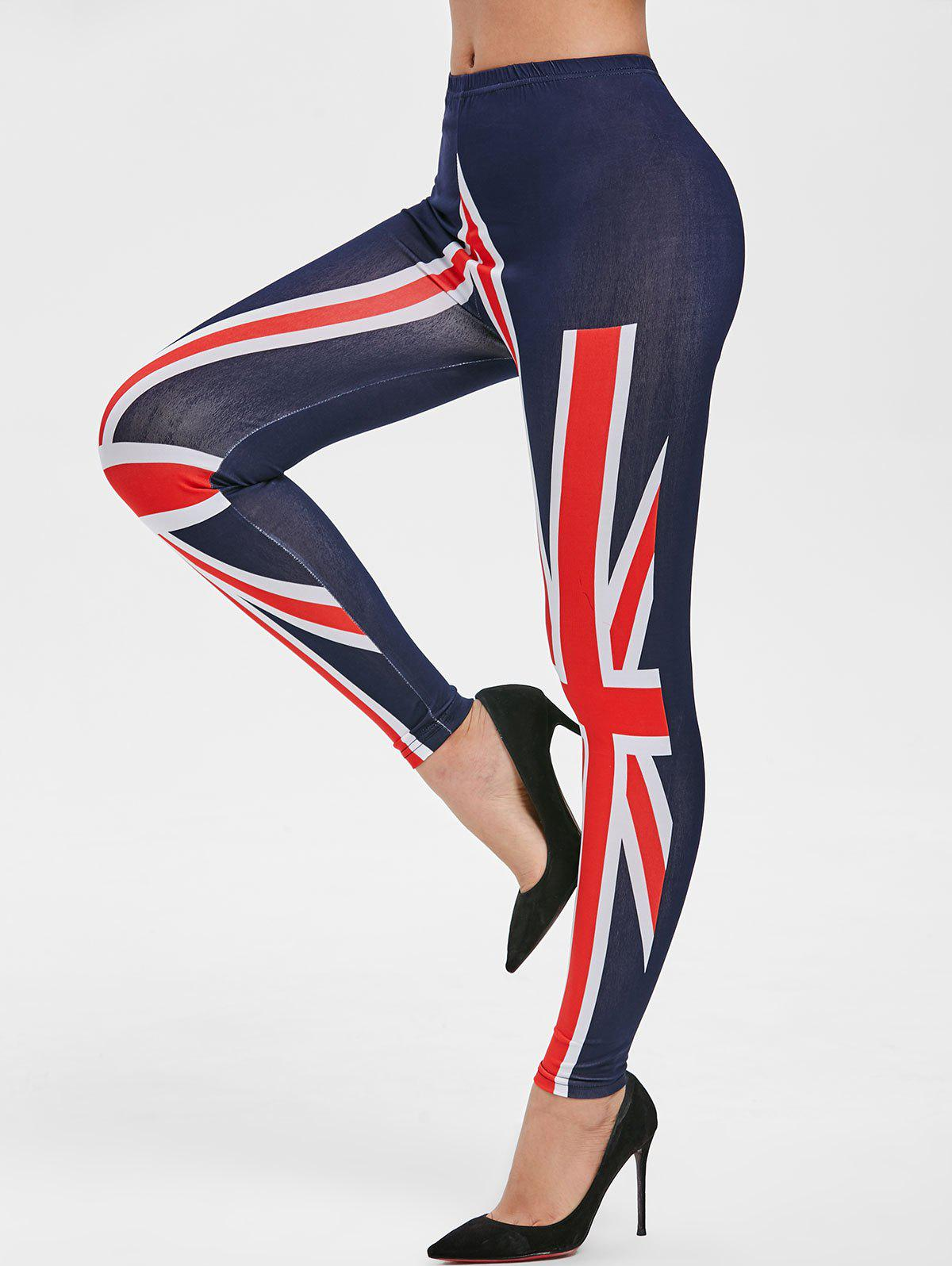 Store Ninth Flag Print Skinny Leggings