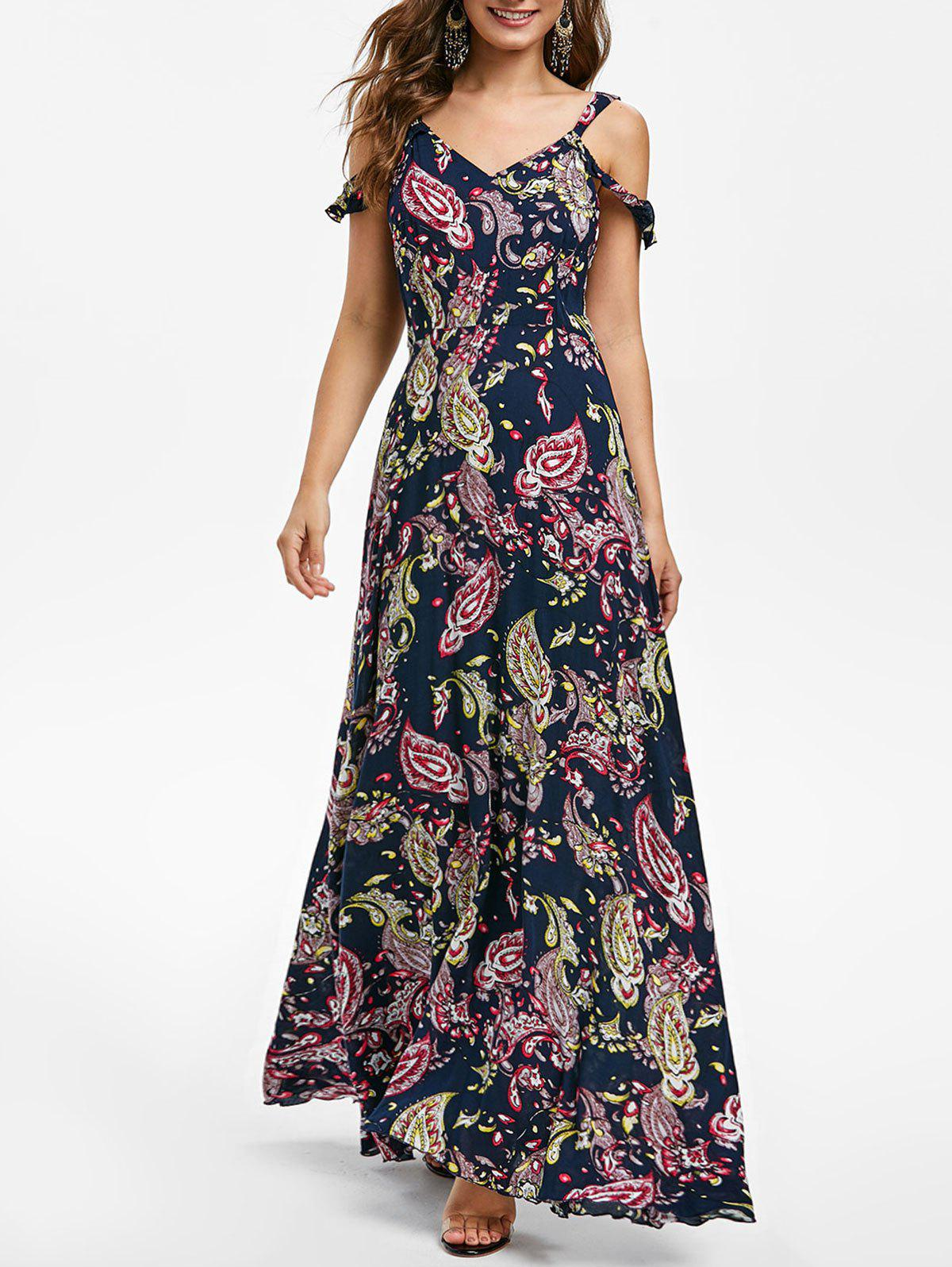 Trendy Graphic Open Shoulder Maxi Dress