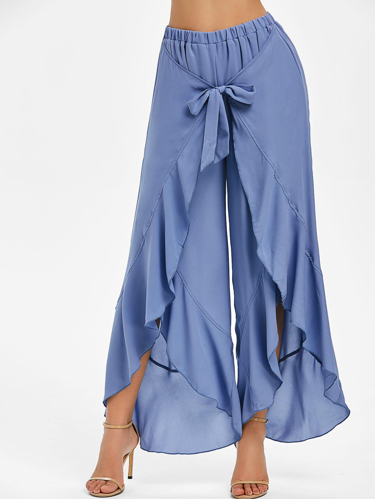 Buy Ruffle High Waist Slit Wrap Pants