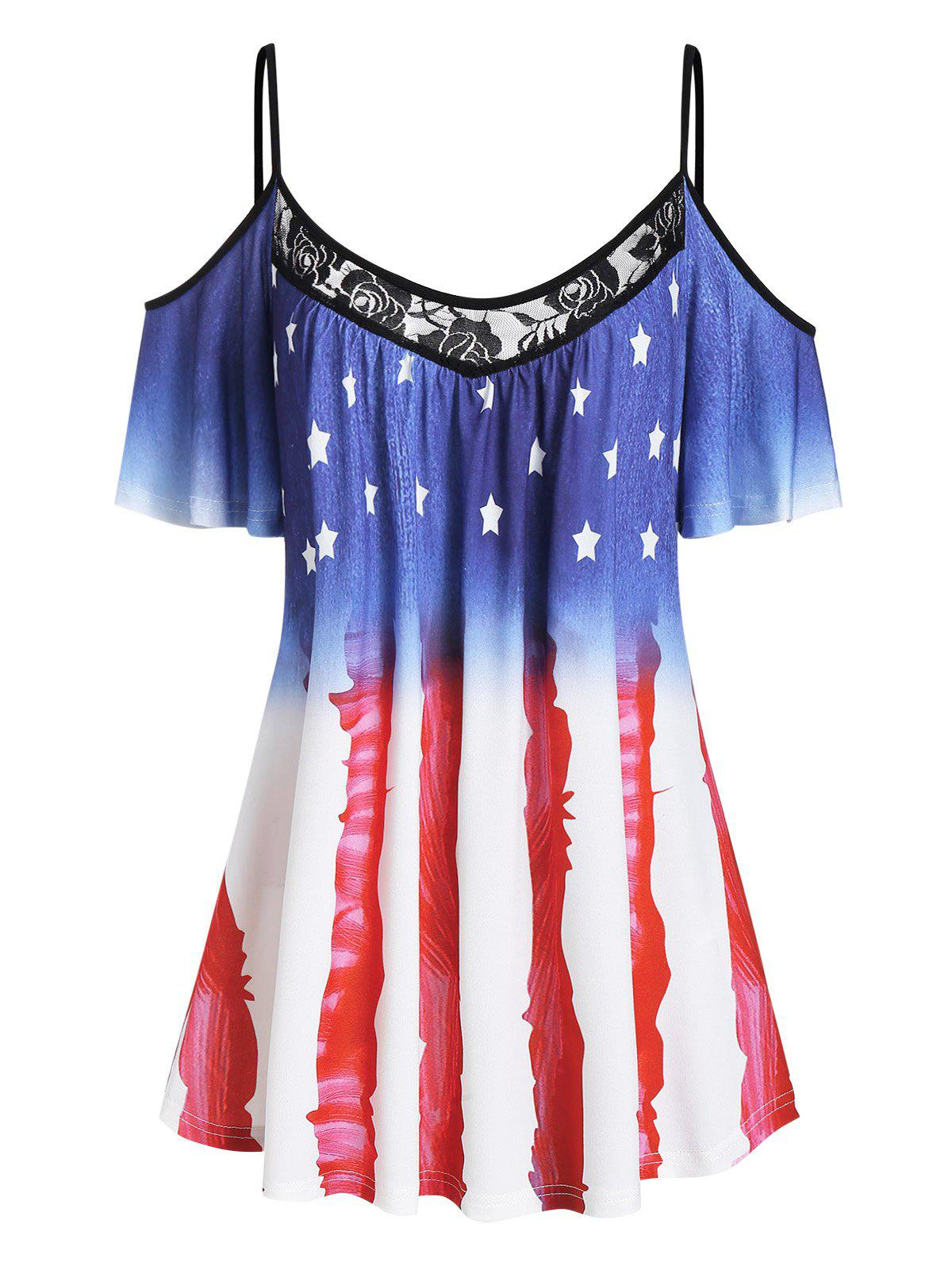 Shop American Flag Lace Panel Open Shoulder Tee
