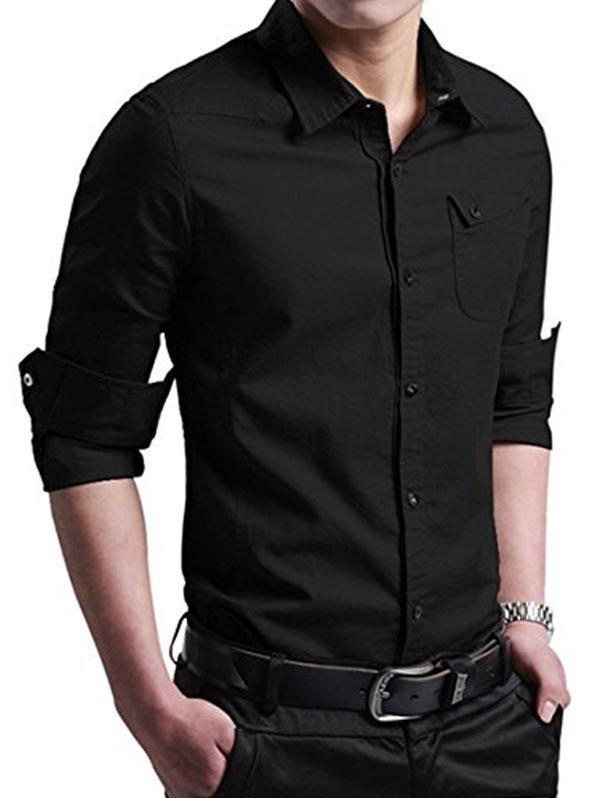 Sale Pocket Decoration Button Up Long Sleeves Shirt