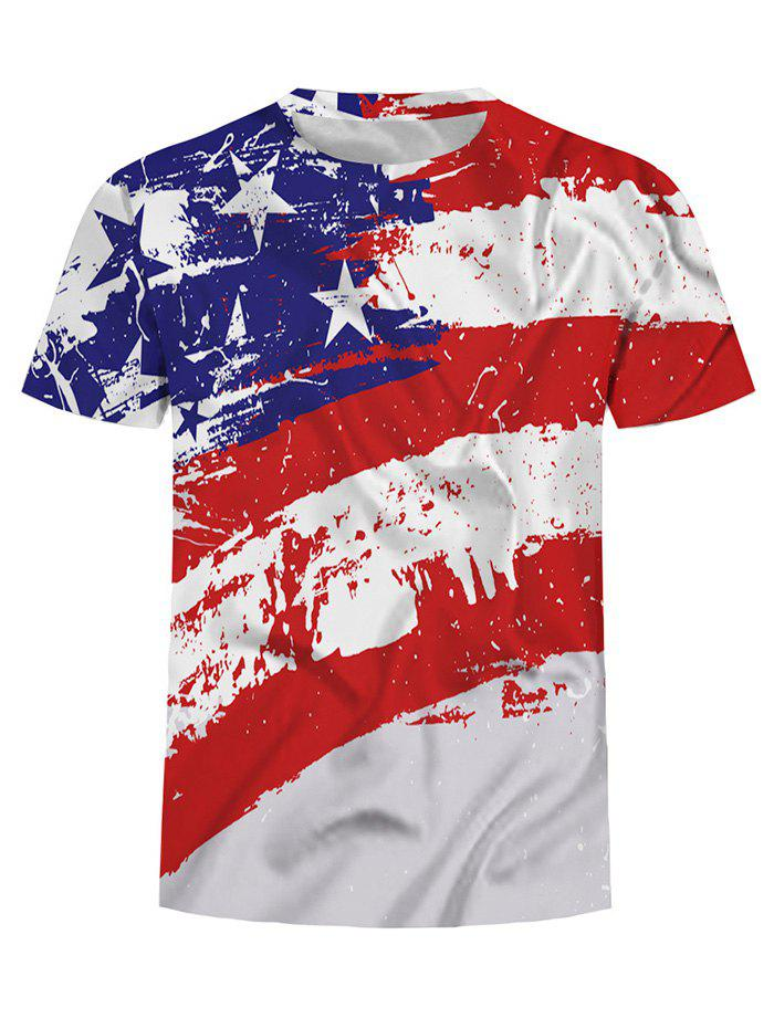 Outfit American Flag Print Crew Neck T Shirt