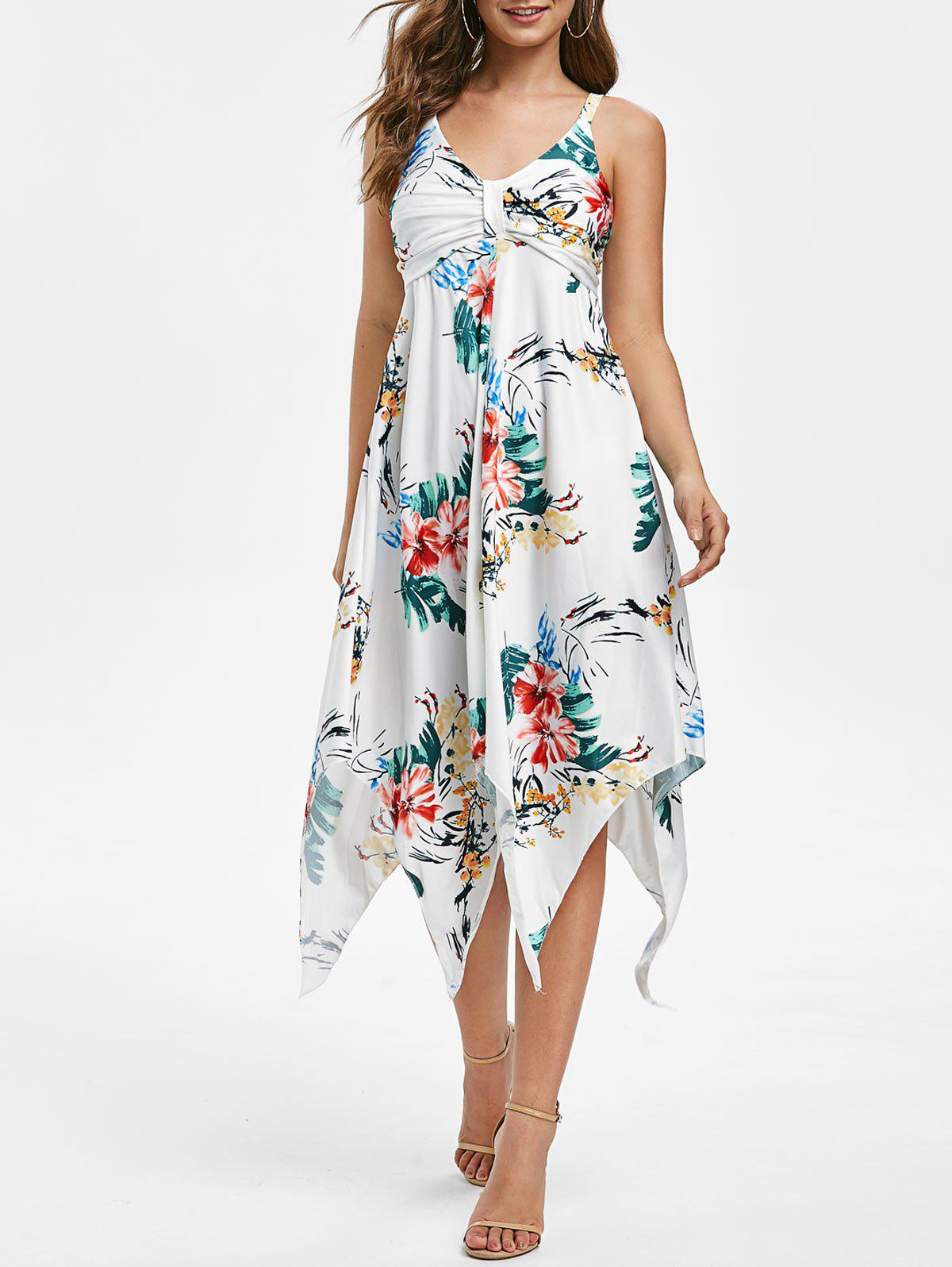Discount Floral Print Empire Waist Asymmetric Dress