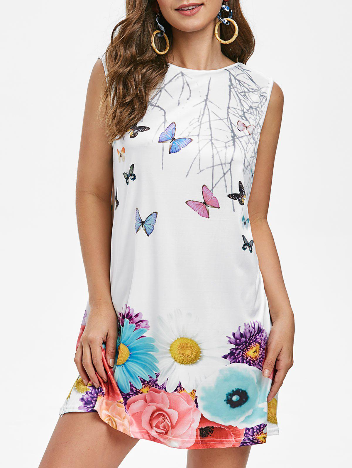 Unique Butterfly Floral Tunic Dress