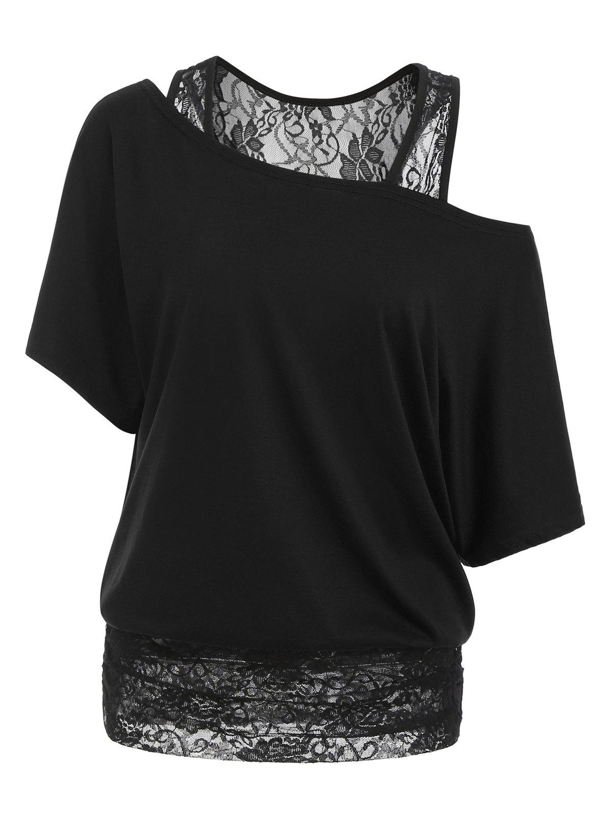 Shop Scoop Neck Lace Panel Casual Tee