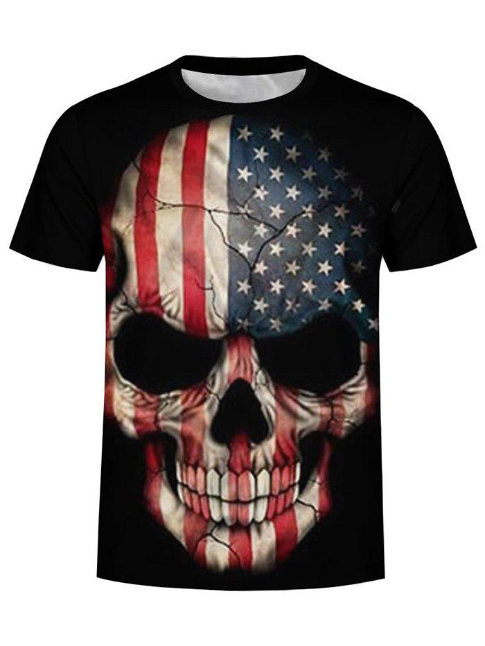 New American Flag Skull Graphic T Shirt