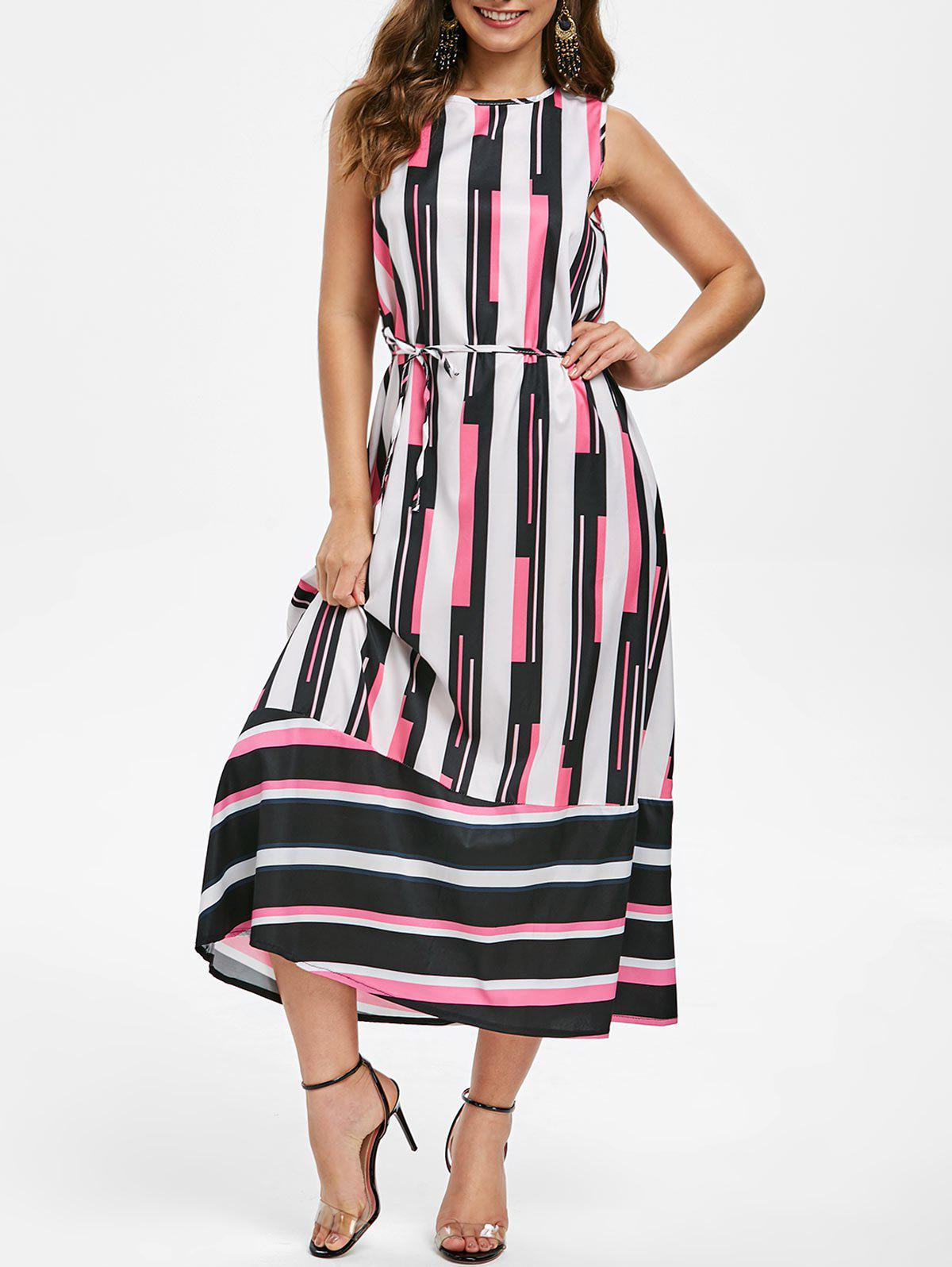 Latest Round Neck Striped Belted Maxi Dress