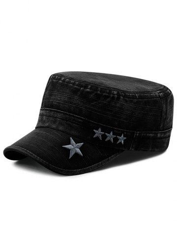 Star Embroidery Denim Military Hat