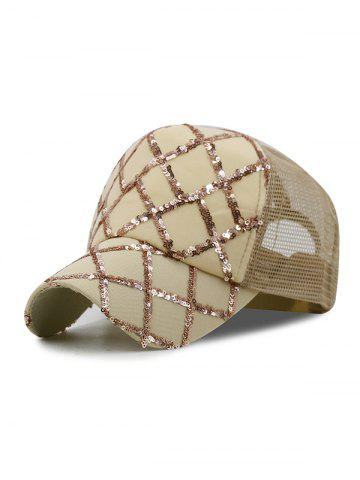 Sequins Decoration Mesh Trim Baseball Hat
