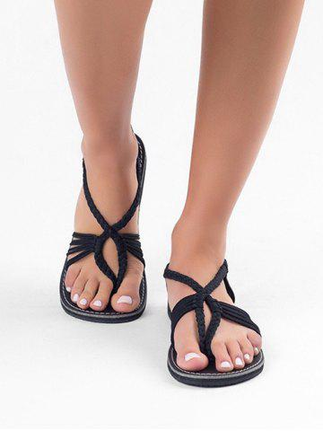 Braided Strap Thong Flat Sandals