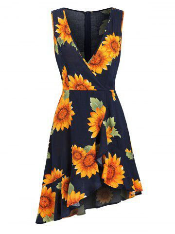 Plunge Flounce Sunflower Print Asymmetrical Dress