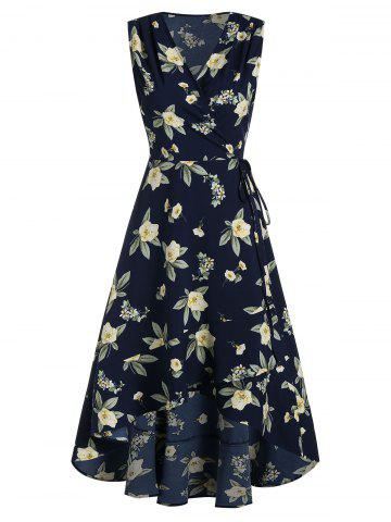 Sleeveless High Low Flower Print Wrap Dress
