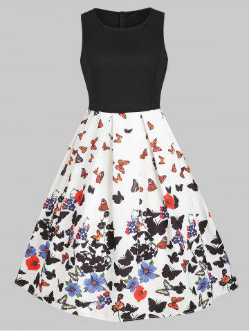 Butterfly Print Sleeveless Prom Dress
