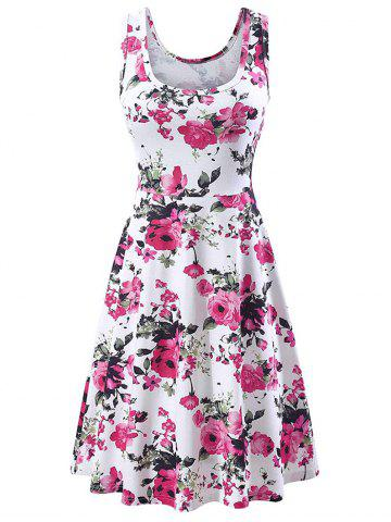 Flower U Neck Casual Dress