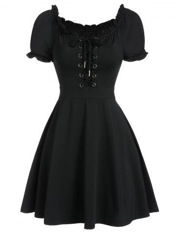 Lace Up Ruffle Skater Dress