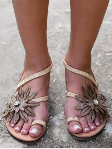Summer Flower Decorated Flat Heel Sandals