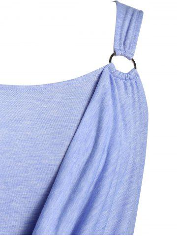 Plus Size Ruched Marled Tank Top, Sea blue