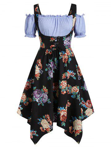 Plus Size Handkerchief Floral Dress With Off Shoulder Blouse Twinset - BLACK - L
