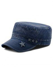 Star Embroidery Denim Military Hat -