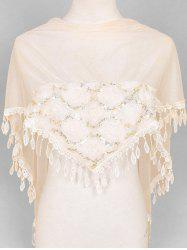 Flower Lace Fringe Sequin Triangle Scarf -