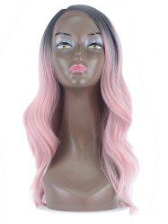 Center Part Wavy Long Synthetic Wig with Lace Front -