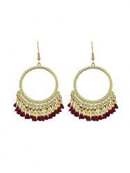 Ethnic Circle Fringe Hook Earrings -
