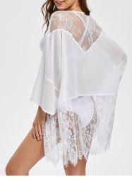 Lace Panel Open Front  Cover Up -
