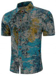 Short Sleeves Plant Painting Print Button Shirt -