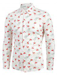 Long Sleeve Flamingo Print Button Up Shirt -