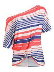 Batwing Sleeve Striped Twisted T-shirt -