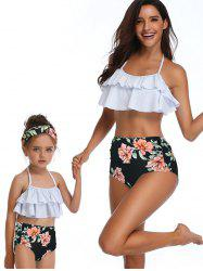 Floral Print Tiered Overlay Family Swimsuit -