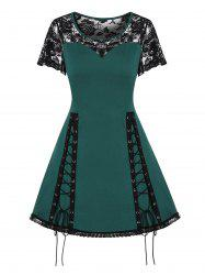 Lace Up Fit And Flare Sheer Dress -
