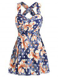 Cross Polka Dot Floral One-piece Swimsuit -