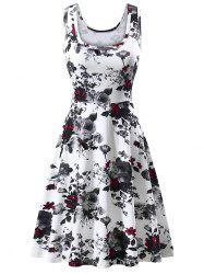Flower U Neck Casual Dress -
