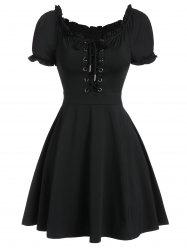 Lace Up Front Ruffle Skater Dress -