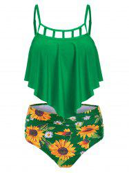 Ruched Sunflower Overlay Tankini Set -