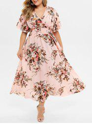 Plus Size Bohemian Maxi Floral Dress -
