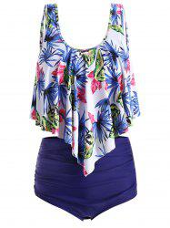 Plus Size Padded Leaf Floral Tankini Set -