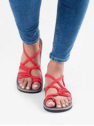 Toe Loop Braided Strap Flat Sandals -