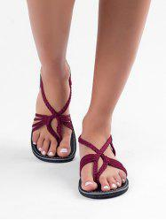 Braided Strap Thong Flat Sandals -