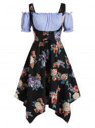 Plus Size Handkerchief Floral Dress With Off Shoulder Blouse Twinset -