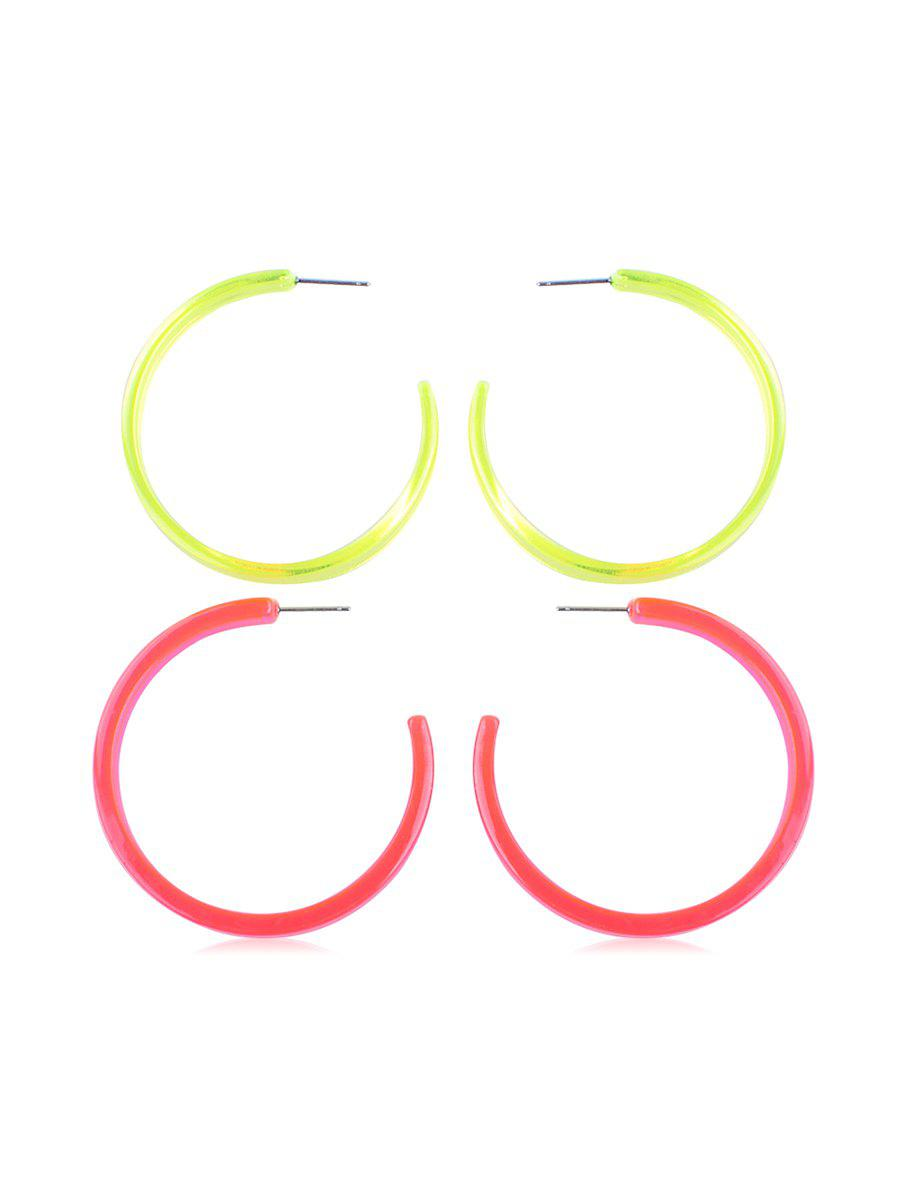 Outfits 2Pairs Round Neon Stud Earrings Set