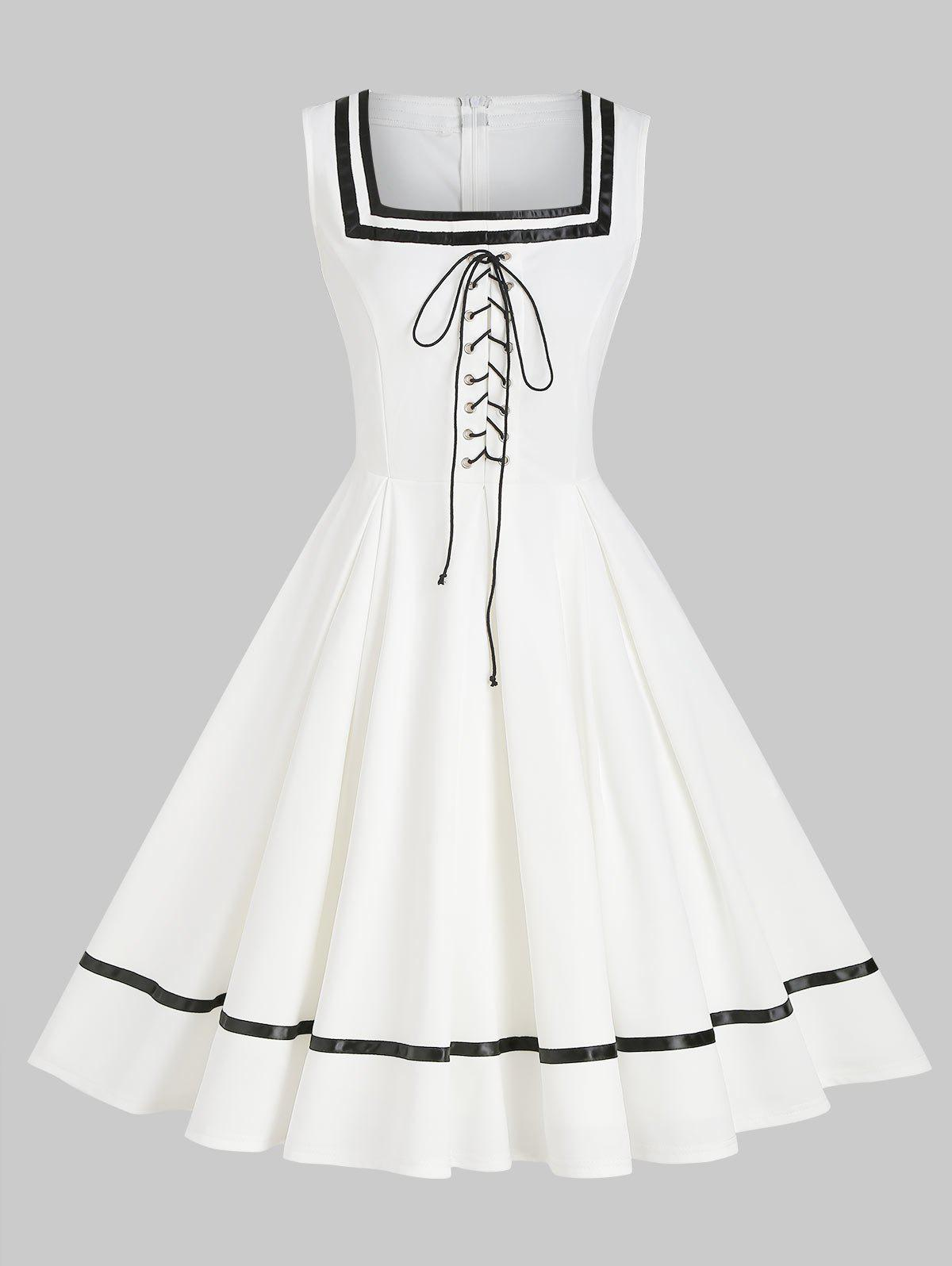 New Contrast Zippered A Line Lace Up Vintage Dress
