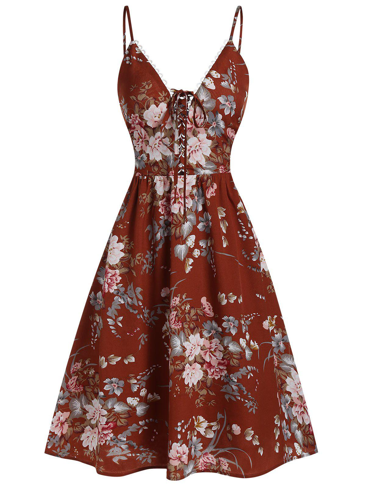 Store Cami Floral Print Lace Up Dress