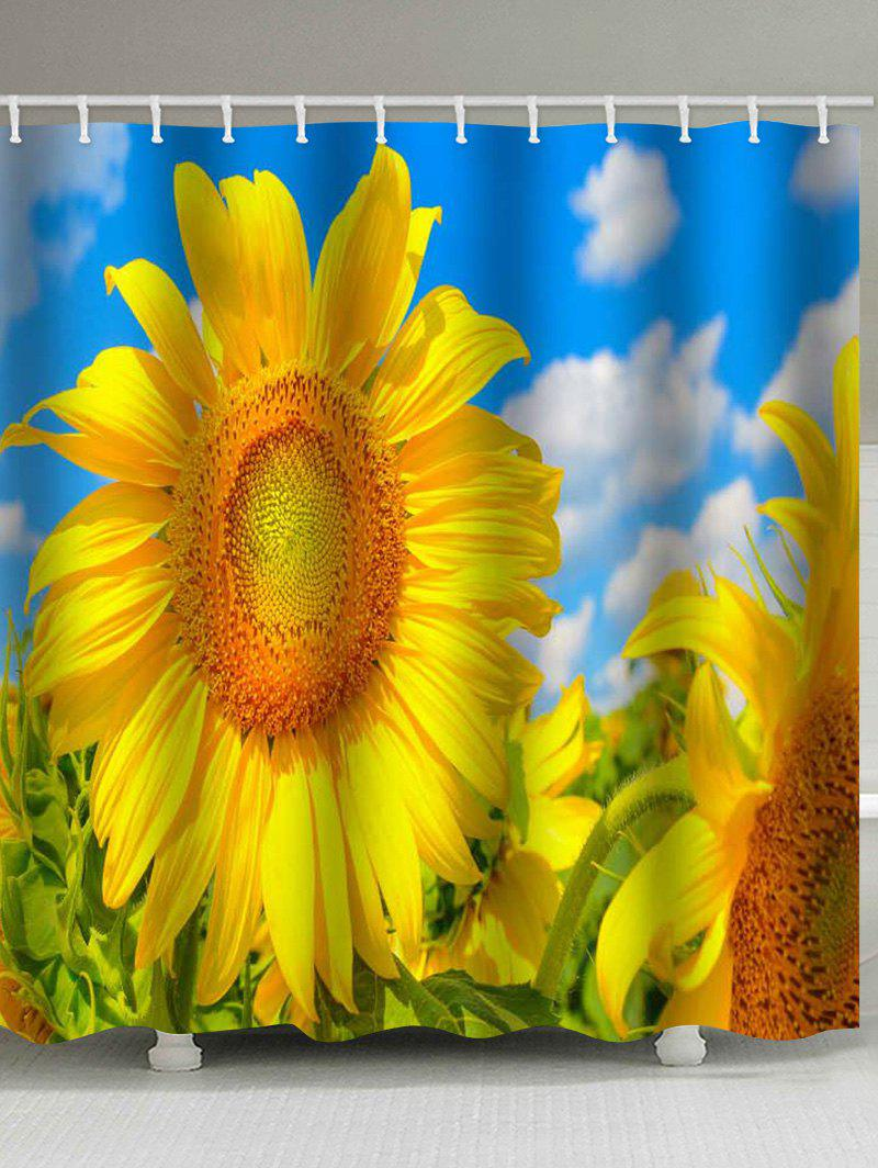 Outfit Clear Sky Sunflower Print Waterproof Shower Curtain