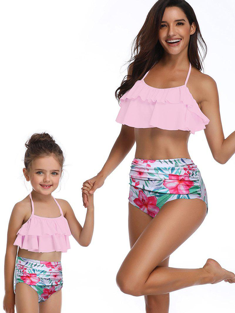 Trendy Floral Print Tiered Overlay Family Swimsuit