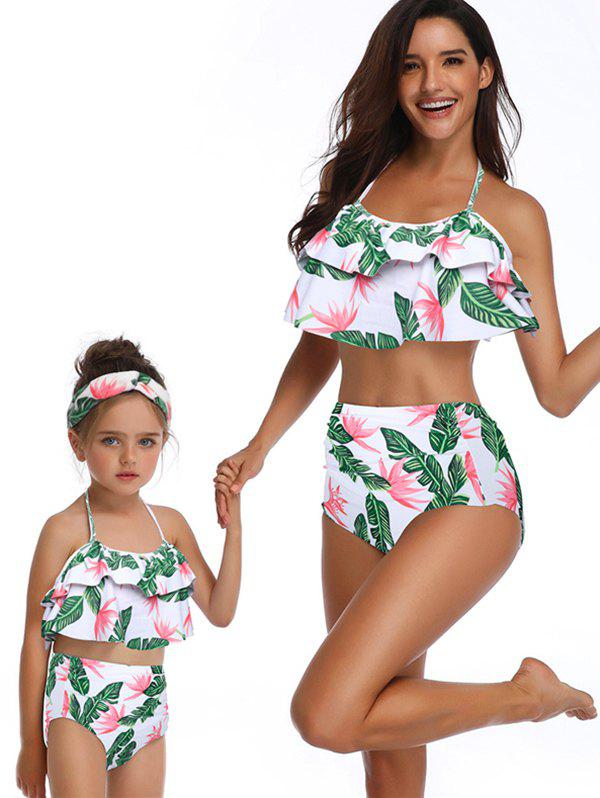 Buy Floral Print Tiered Overlay Family Swimsuit