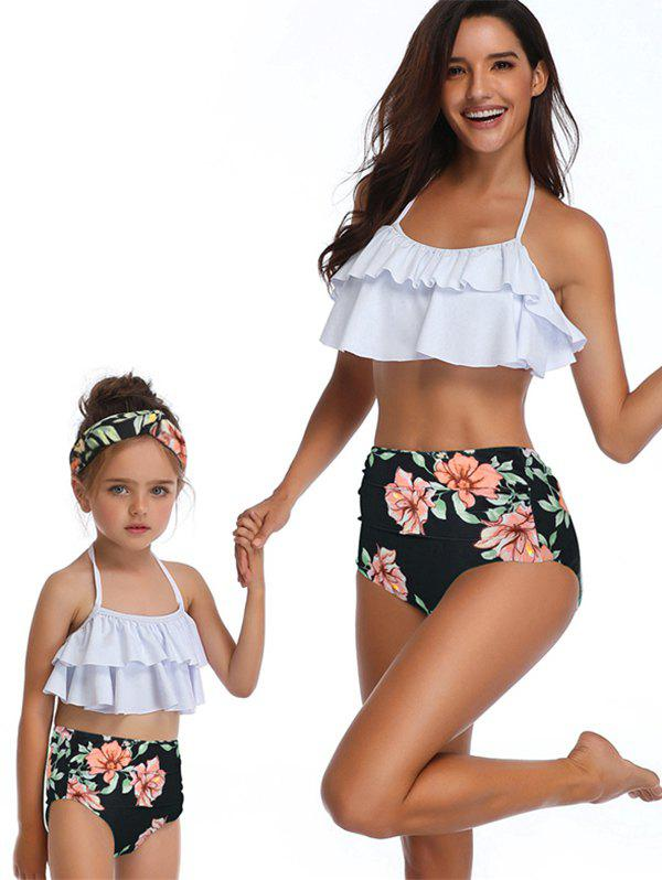 Sale Floral Print Tiered Overlay Family Swimsuit