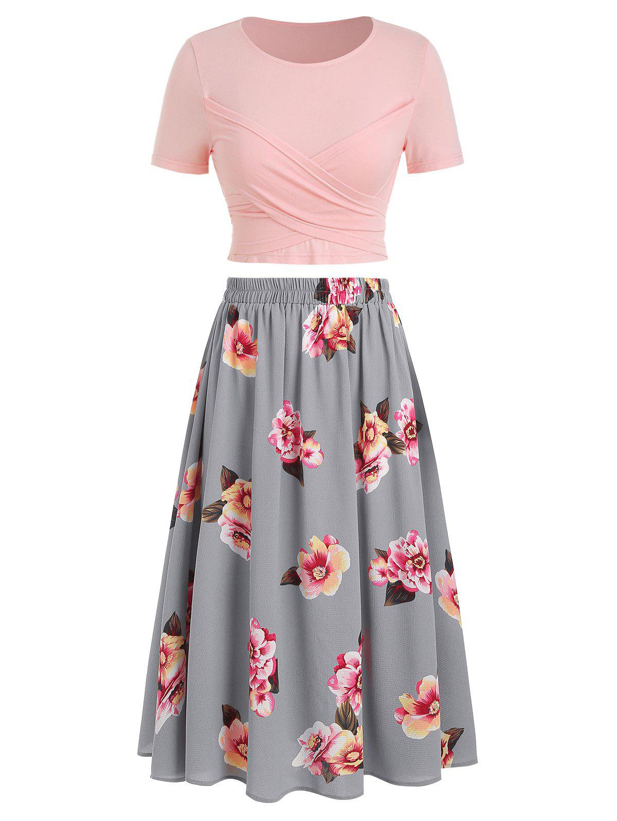 Outfits Floral Print Tie Back Two-piece Dress